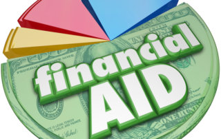 Financial Aid 3d words on a pie chart of money, support, assistance or help for college.