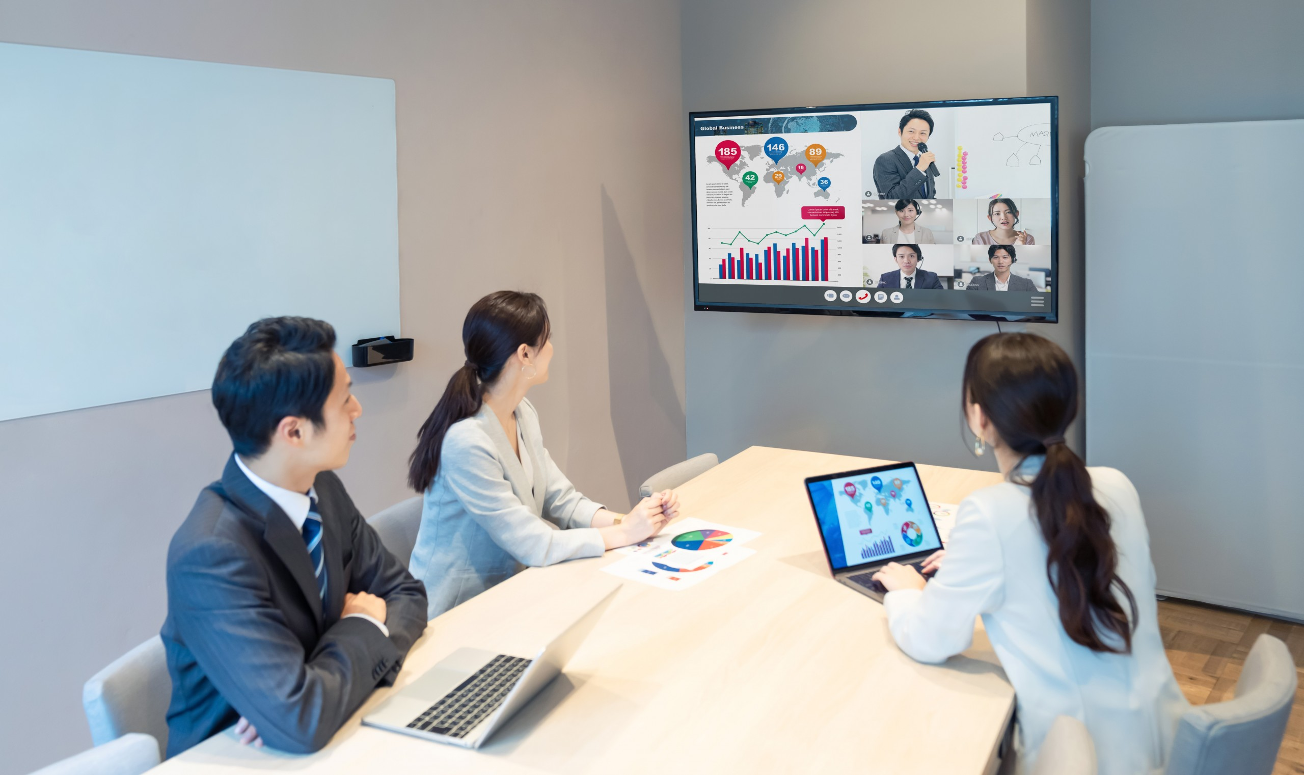 Team participating in a video web conferencing session - Academic Technology Procurement