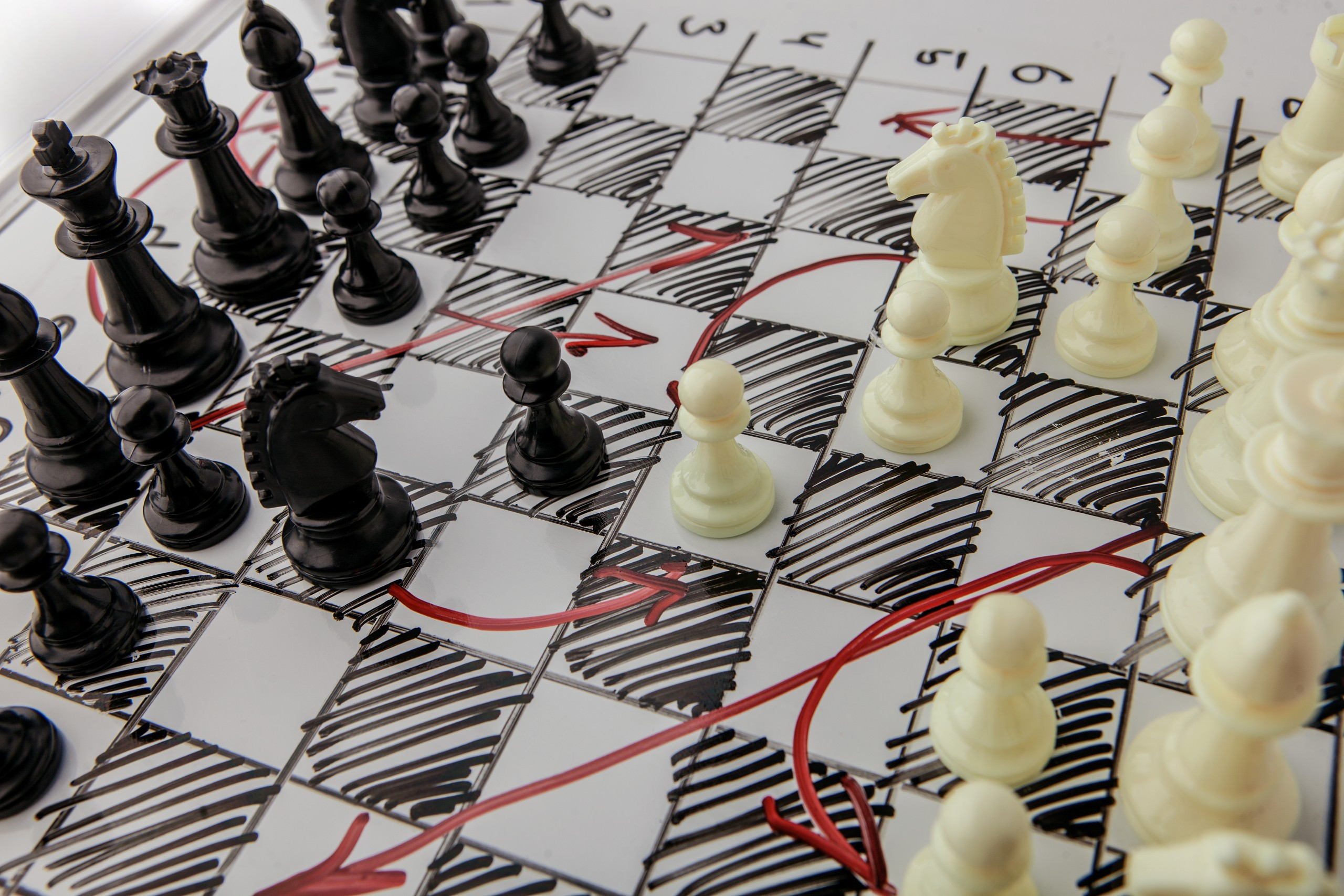 Chessboard with strategic moves